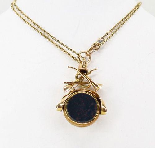 Antique, Equestrian flip bloodstone fob pendant in 14k gold