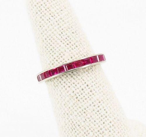 Ruby eternity wedding band ring in 14k gold