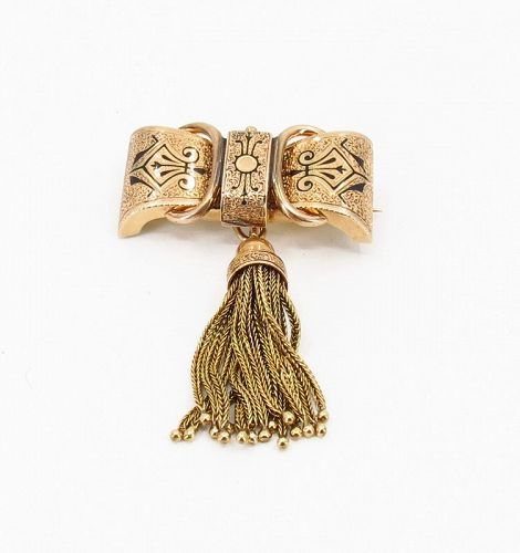 Victorian, 14k gold Taille d�Epargne brooch pendant with tassel