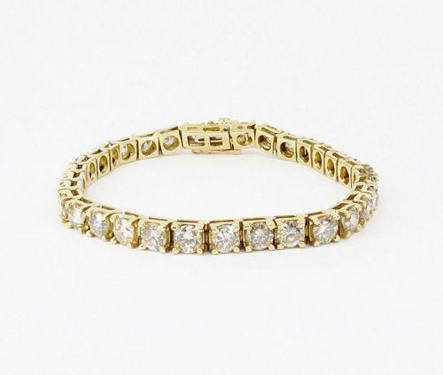 Estate 14k yellow gold 11.5ctw diamond tennis bracelet