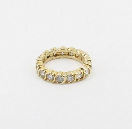 Diamond eternity wedding band ring in 14k yellow gold