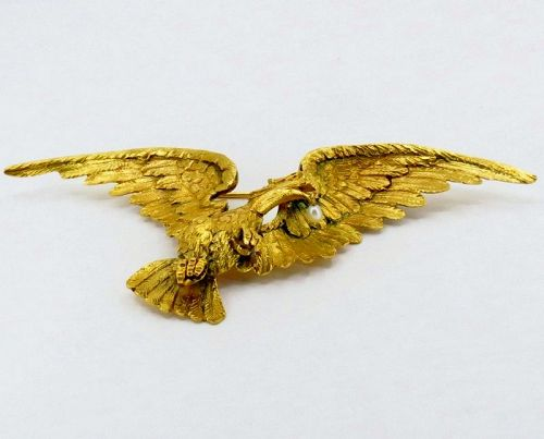 Large, antique, French eagle brooch in 18k yellow gold