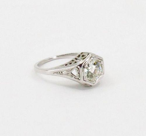 Edwardian, 0.75ct Euro cut diamond engagement ring in 18k gold