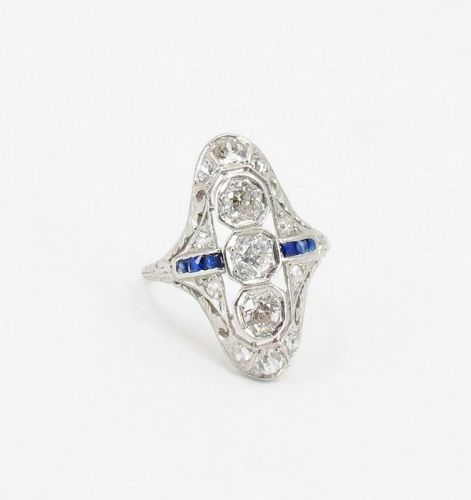 Antique, Edwardian diamond, sapphire ring in 18k filigree gold
