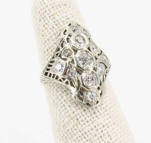 Antique, Edwardian diamond, ring in 18k filigree gold
