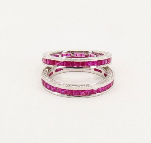 Pair of 2 Ruby eternity wedding band ring in 14k white gold size 6