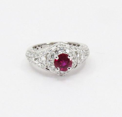 Natural, ruby, diamond ring in 18k white gold