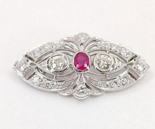 Art Deco Platinum diamond natural ruby brooch pendant