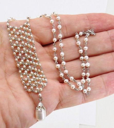 Art Deco, natural seed pearls, platinum, 18k white gold necklace