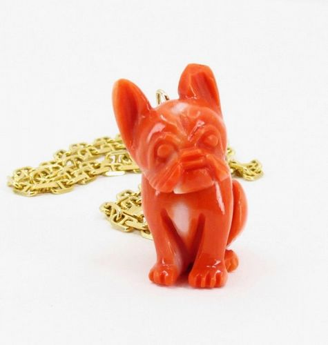 Carved coral French Bulldog pendant, with 18k goold chain necklace