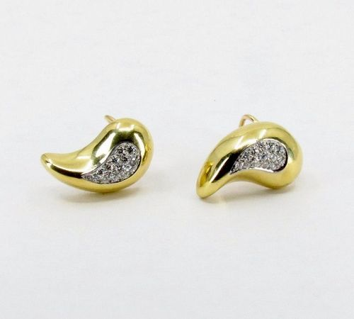 Cellino Italy, diamond earrings in 18k gold and platinum