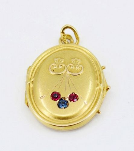 Russian, antique, 14k gold locket, pendant with rubies and sapphire