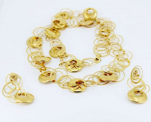 18k yellow gold circle necklace, earrings set