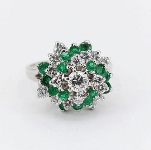 Emerald, diamond pinwheel cocktail ring in 14k white gold
