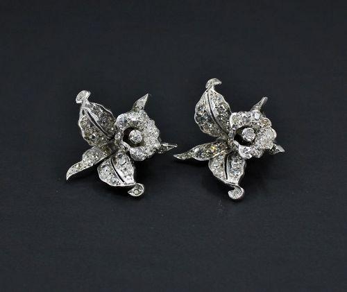 Antique, platinum diamond orchid flower earrings