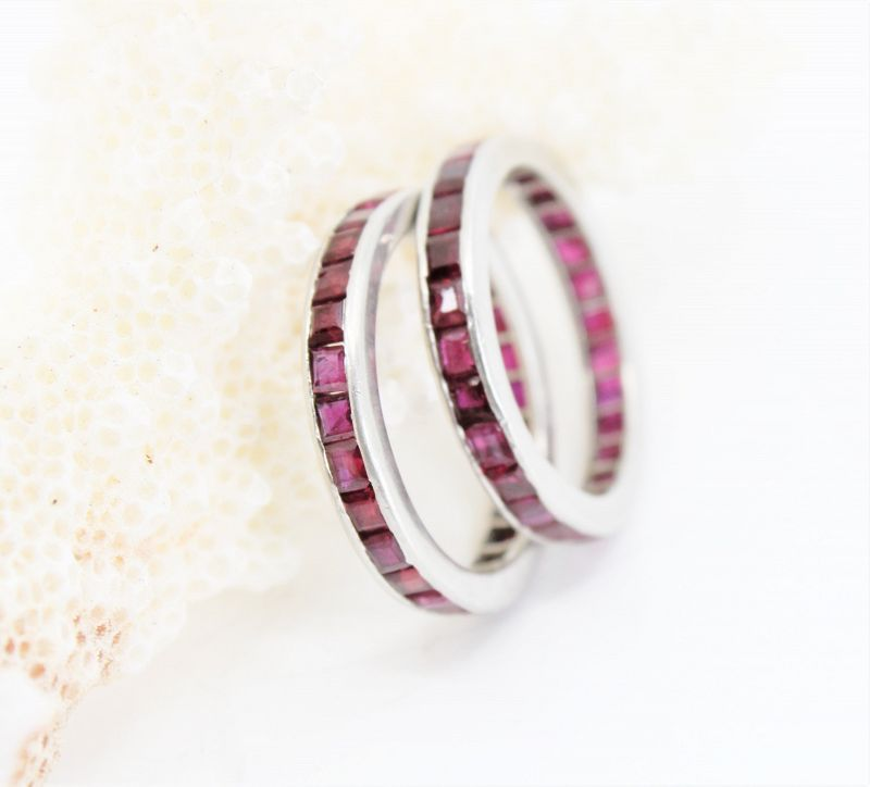 Tiffany & Co natural ruby eternity band ring in platinum set of 2