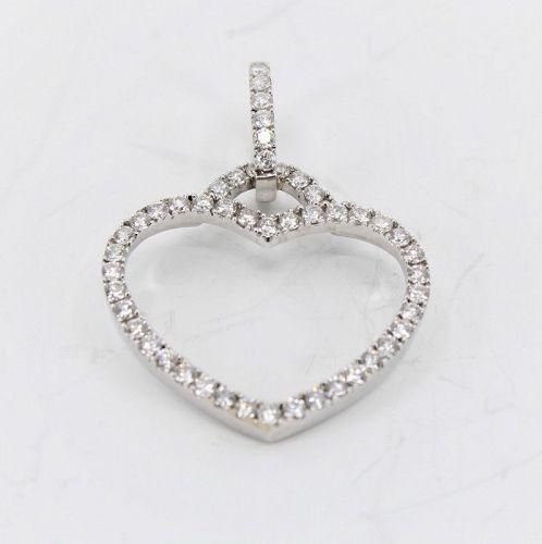 Diamond heart pendant, charm in 18k white gold