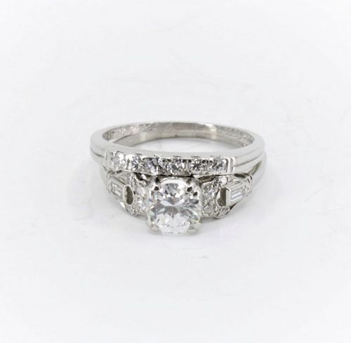 Antique, Platinum Diamond engagement ring and band set