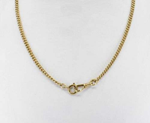 Antique 14k yellow gold watch chain necklace, 20.3 grams.