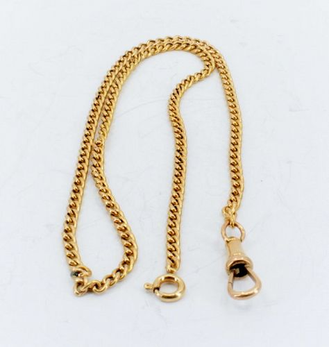 Antique rose yellow gold watch chain necklace 25.5 grams