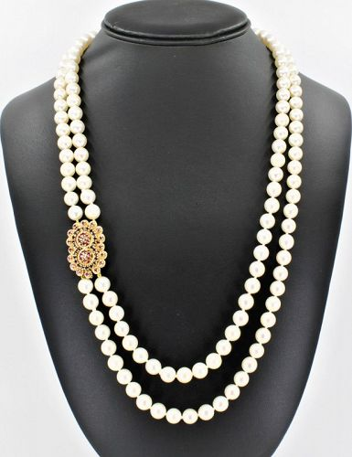 2 strand cultured pearl necklace with 14k gold ruby sapphire clasp
