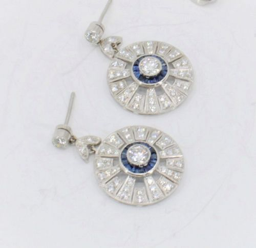 Diamond, sapphire dangle earrings in platinum
