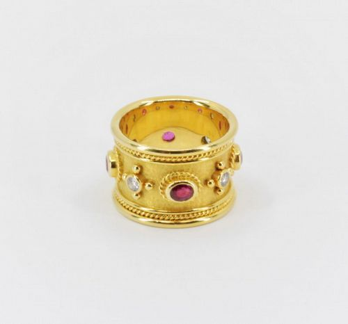 Elizabeth Gage ruby diamond Templar band ring in 18k yellow gold