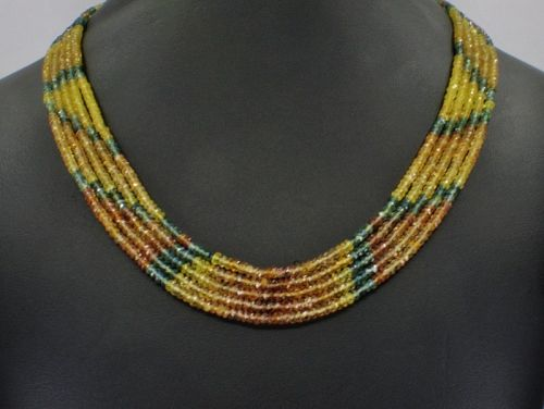 5 strand natural sapphire bead necklace 14k gold clasp
