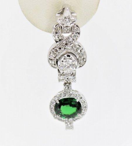 Tsavorite, diamond dangle earrings in 14k white gold
