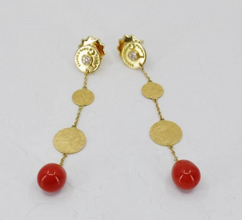 Lucia Giovanetti, red coral dangle earrings in 18k yellow gold