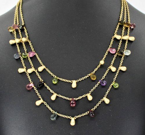 Tourmaline gemstone triple chain necklace in 14k yellow gold