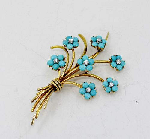 """14k gold Persian Turquoise, Diamond """"forget me not"""" brooch, pin"""