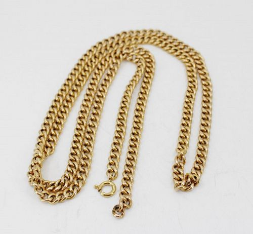 """Antique solid 18k yellow gold chain necklace 30.5"""" long"""