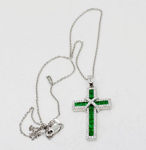Finest Colombian Emerald diamond cross pendant necklace 18k gold