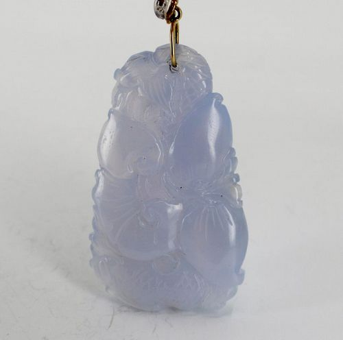 Carved lavender jade double sided pendant, 14k gold diamond bail