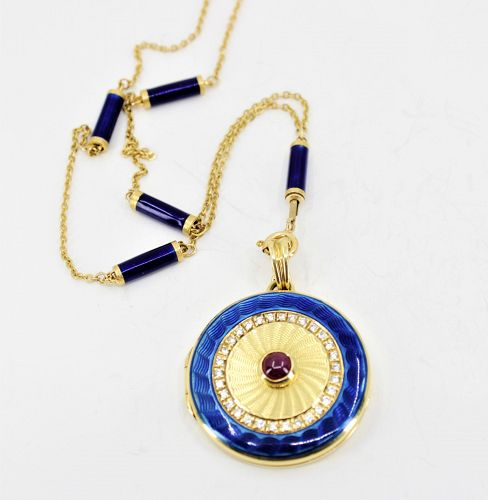 18k gold ruby blue enamel locket pendant on antique 18k gold chain