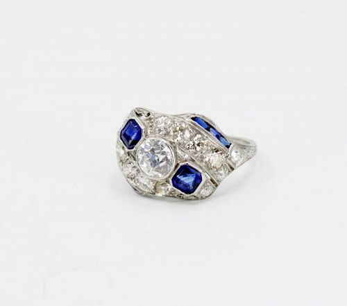 Art Deco diamond sapphire engagement ring set in platinum