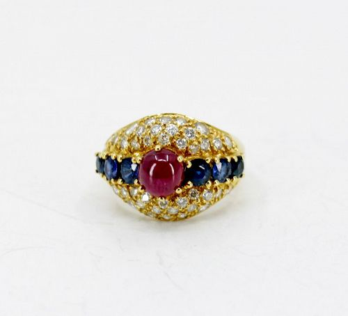 Natural Ruby Sapphire, Diamond dome ring in 18k yellow gold