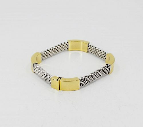 Solid 18k yellow and white gold fexible bangle bracelet
