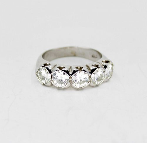 Vintage 5 diamond anniversary band ring in 18k white gold