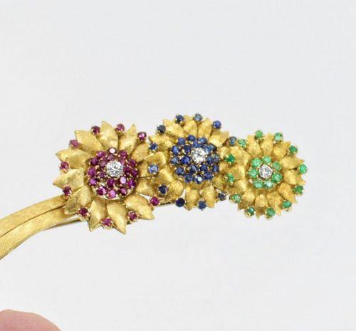 Spitzer & Fuhrmann ruby, sapphire, emerald diamond brooch pin