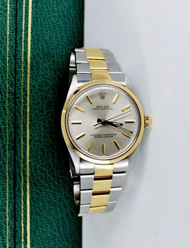Rolex Oyster Perpetual authomatic watch 2tone 14k gold & steel
