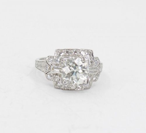 Art Deco 3.10ct diamond engagement ring in platinum
