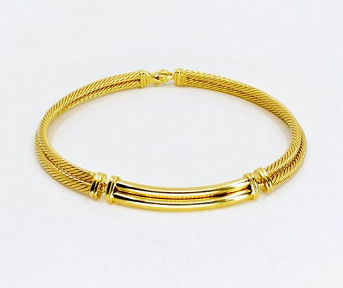 David Yurman, solid 18k yellow gold cable choker necklace
