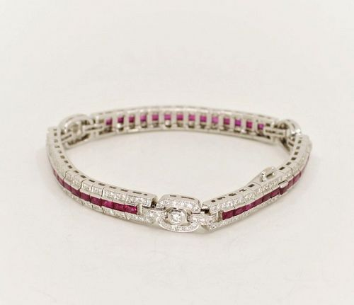Retro, 7CT Ruby and Diamond tennis bracelet in 18k white gold