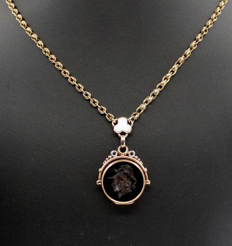 Antique, Victorian 14k gold intaglio carnelian fob locket necklace