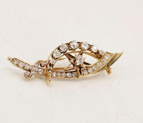 Antique, Victorian diamond crescent sword star brooch in 14k gold