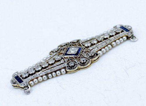Antique, diamond, sapphire seed pearls pendant 18k gold and platinum