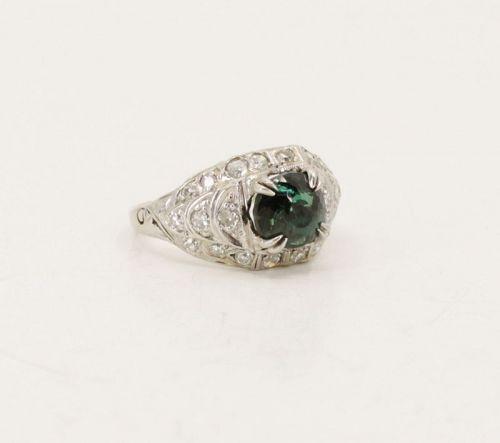 Antique, GIA certified natural Alexandrite diamond ring in platinum