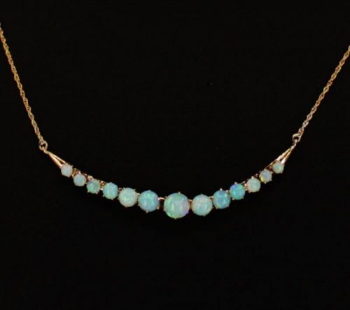 Antique Australian opal crescent necklace in 14k yellow gold
